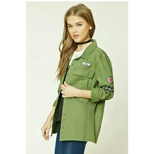 Forever 21 - Military Patch Graphic Jacket Size M